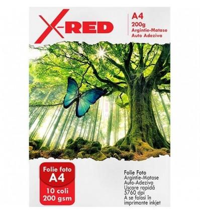 Folie Foto X-Red Auto Adeziva, Argintie Matase, 200g, 10 coli
