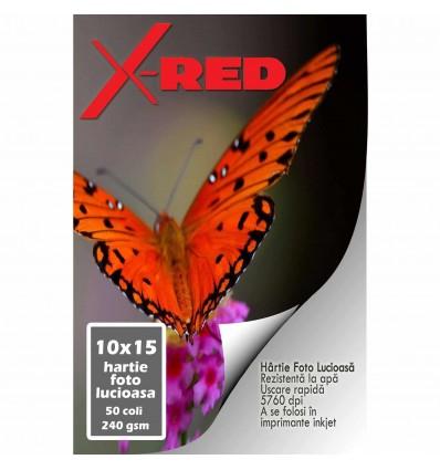Hartie FOTO High Glossy printabila fata-verso 250g 10x15 cm X-RED