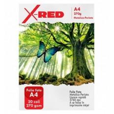 Folie Foto X-Red Perlata cu efect Metalizat, Lucioasa, 20 coli, 270g